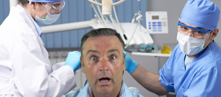Man afraid of the dentist, a dentophobe
