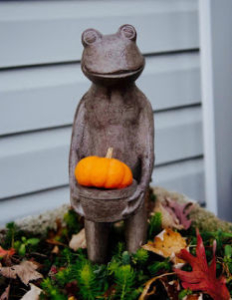 Metal frog statue outside Munroe Falls Family Dentistry smiles and holds a mini pumpkin in his basket